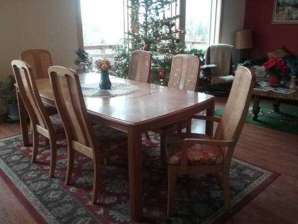 Photo oak dining table and 6 chairs - $200 (Moscow)