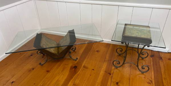 Photo Coffee Table  End Side Table Book Wrought Iron Base Glass Top Map of the World - $240 (Bettendorf)