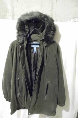 Photo Womens XL Suede Winter Hooded Coat - $20 (Rock Island)