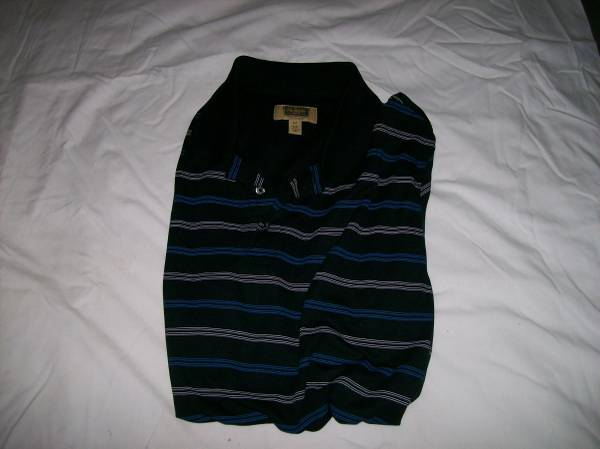 Photo NEW BLACK-STRIPED POLO-STYLE MEN39S SHIRT---XLT (Extra-LargeTall) - $5 (St. Louis County)