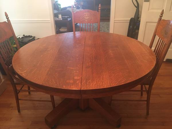 Photo Officers Club at C Ellis during WWII Antique Solid Oak Dining Table - $1,000 (Macomb, IL)