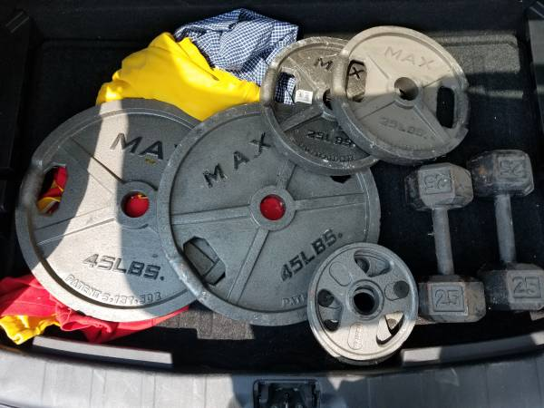 Photo Weider Max Olympic plates  Dumbells - $110 (Quincy)