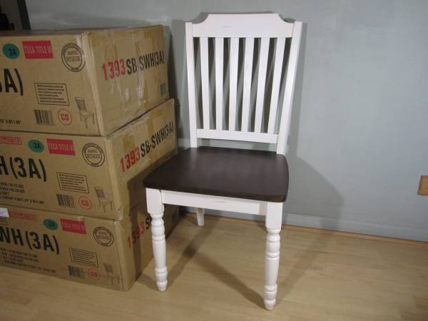 Photo 8 Two-tone Distressed Antique White  Warm Cherry Finish Dining Chairs - $200 (Gurnee)
