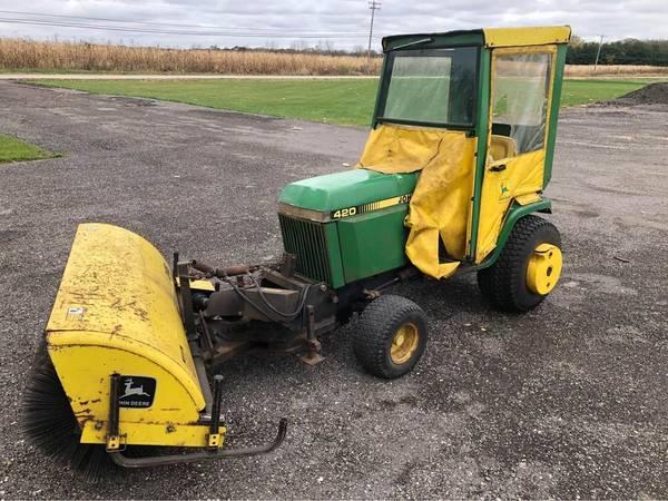 Photo John Deere 420 Garden Tractor with Cab, Broom, and Mower Deck - $3,500 (Bristol)