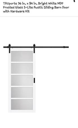 Photo New TruPort 36x84in 5-Light Frosted Glass Barn Door, Retail $318 - $165 (4311 s western Blvd Chicago)