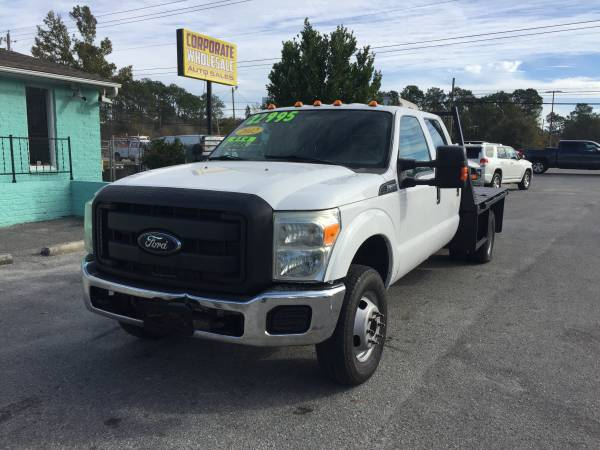Photo 2012 FORD F350 SUPERDUTY SUPERCREW 4 DOOR 4X4 DUALLY DIESEL FLATBED - $18995 (CORPORATE WHOLESALE)