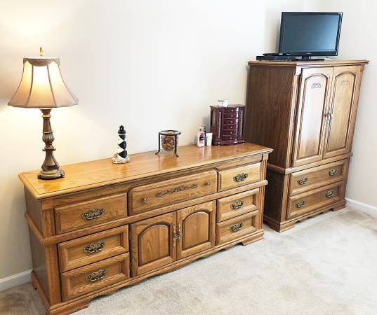 Photo Boyhill Oak Dresser and Armoire - Solid and Excellent Condition - $325 (Raleigh)