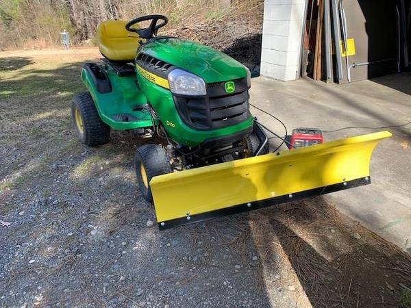 Photo John Deere Hydrostatic Lawn Mower, Plus Plow, Weights and Chains. (Raleigh)