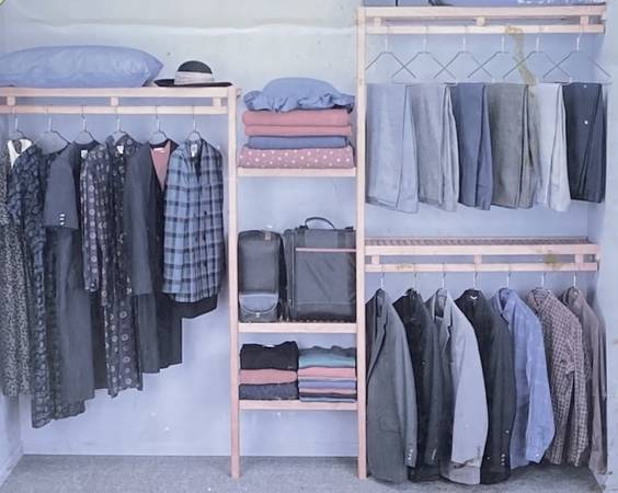 Photo Lee Rowan Solid Oak Wood Wardrobe Shelving Closet Organizer 5 x 9 - $80 (Chapel Hill)