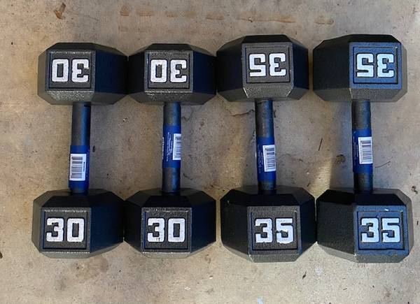 Photo Rubber Hex and Cast Iron Dumbbells New - $50 (Raleigh)