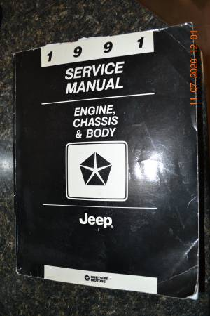 Photo 1991 Jeep Service Manual 81-370-1145 Engine Chassis  Body - $19 (Rapid City)