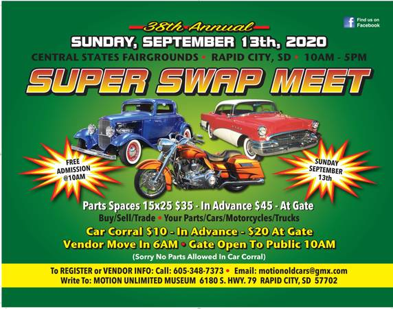 Photo 38th Annual Super Swap MeetCar Corral 9-13-20 (Central States Fairgrounds Rapid City SD)