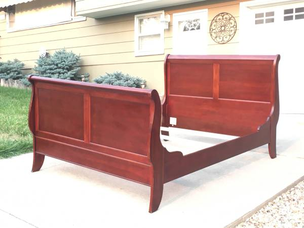 Photo Queen Sleigh Bed Frame  Solid Wood - $200