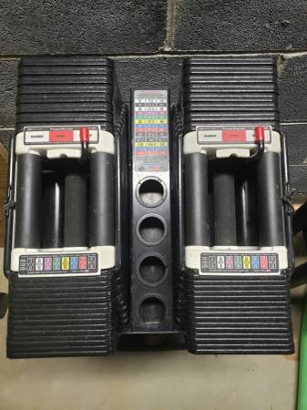 Photo PENDING Powerblock 90 lb dumbbells with stand - $1100 (Temple)