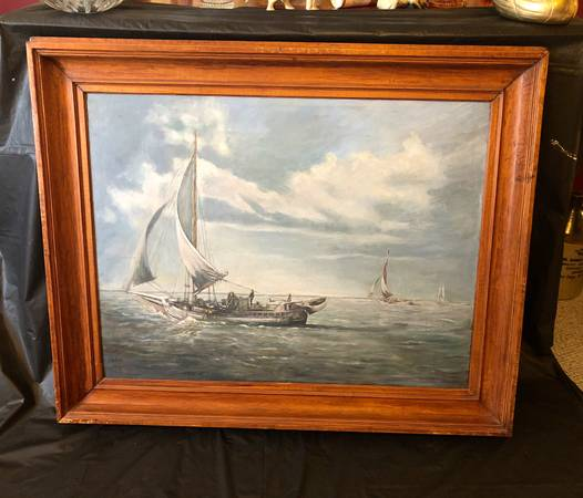 Photo Sail boats on ocean orignial oil on canvas - $495 (reading)