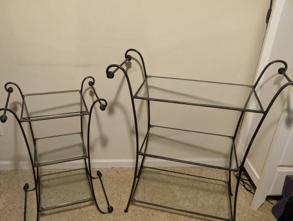 Photo 2 Pier One glass and scrolled metal 3 tiered end tables  nightstands - $75