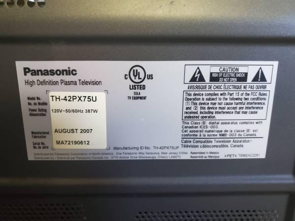Photo 42quot Panasonic Plasma TV - $50 (Cottonwood)