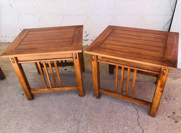 Photo Mission style end tables, see matching coffee table - $107 (Red Bluff)