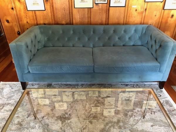 Photo sofa, teal velvet, World Market - $250 (Millville)