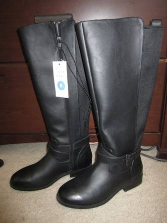 Photo Brand New Women39s Black Wendy Faux Leather Buckle Riding Boots Size 6 - $20 (SparksReno)