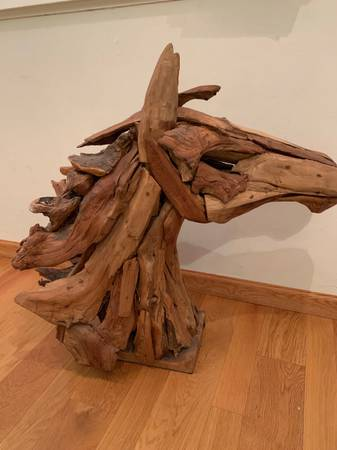 Photo Large Palecek driftwood horse head decor - $350 (Reno)