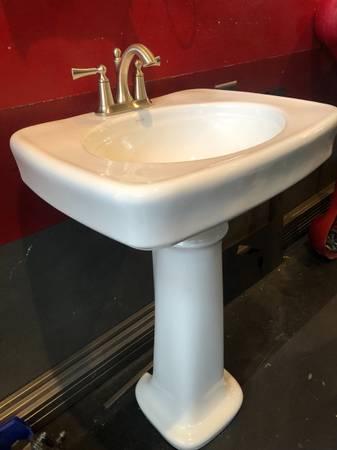 Photo New Kohler Pedestal Sink With Moen Faucet - $125 (NW Reno)