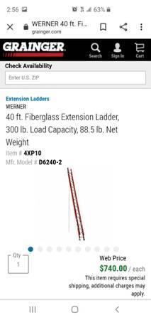 Photo 40 ft fbrglss extension ladder - $300 (Ruther glen)