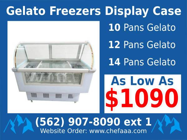 Photo Commercial Glass GelatoPopsicle Freezer Display Case 100 NEW EQ - $1,090 (Whittier)