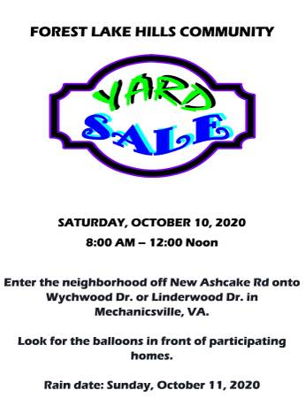 Photo FOREST LAKE HILLS COMMUNITY YARD SALE (Mechanicsville)