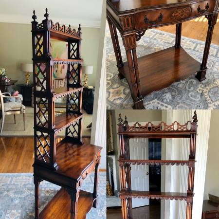 Photo STUNNING Antique Chinese Chippendale Faux Bamboo W Fretwork Etagere - $1,095