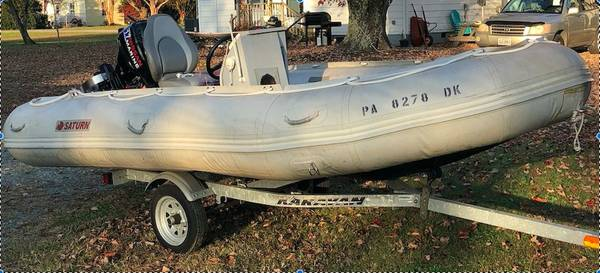 Photo Saturn SD470 15ft RIB Inflatable Center Console Boat  Galv Trailer - $3,750 (Deltaville)