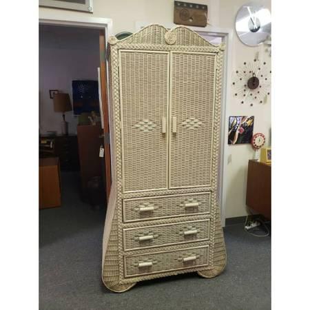 Photo Vintage Boho Wicker Armoire  Dresser - $375 (Midlothian)