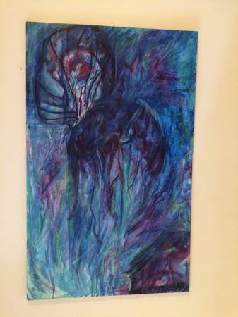 Photo 4 Art works 2 painted on canvas bluered multi color, 2 pencil drawing - $1 (Westchester, Ohio)