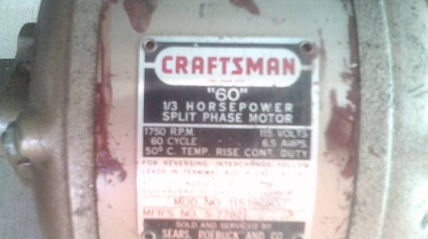 Photo CRAFTSMAN 13 HP Split Phase Motor - $30 (Cincinnati)