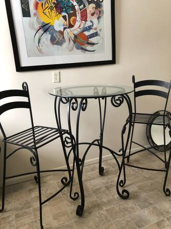 Photo Rot Iron Bar Table with Two Chairs by Pier One Imports - $50 (Richmond)