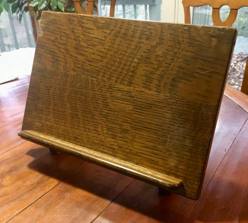 Photo Antique Solid oak bible book folding stand - $35