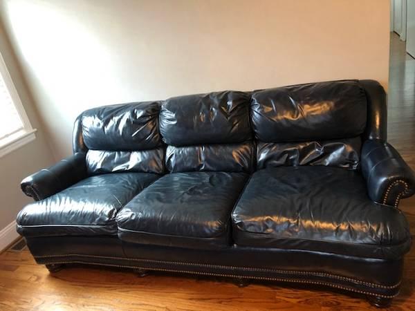 Photo Hancock  Moore Blue Leather Sofa - $450 (ROANOKE)
