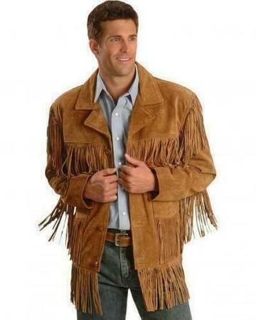 Photo MENS Brown Suede Leather Jacket Fringe - $119 (SALEM)