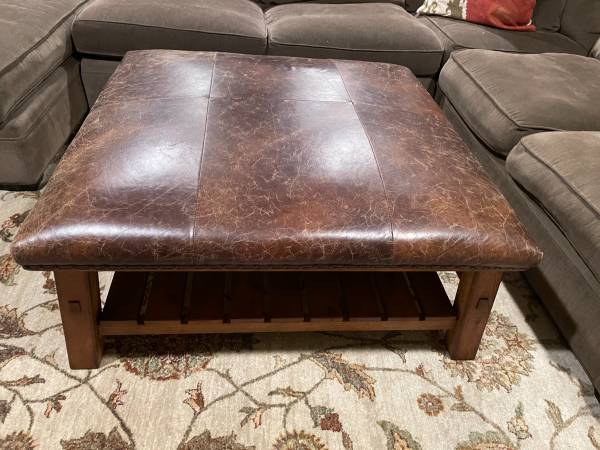 Photo REDUCED - Pottery Barn Caden Square Leather Ottoman - $550 (Edgehill)