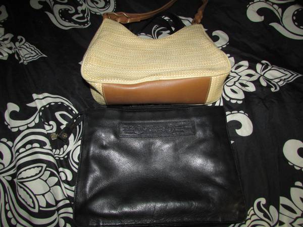 Photo 2 Vintage FOSSIL Handbags Purses Black Leather Cream Woven Serial 39s - $8 (West Irondequoit)