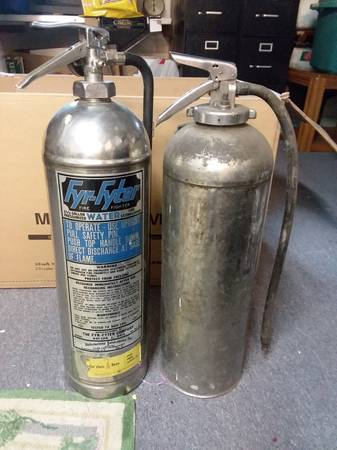 Photo (2) Vintage Fyr-Fyter Stainless Steel Water Fire Extinguishers - $65 (Rochester)