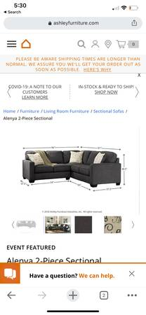 Photo 6 seat sectional - $1,000
