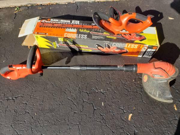 Photo Black  Decker Cordless Hedge trimmer  String Trimmer - $60 (Webster)