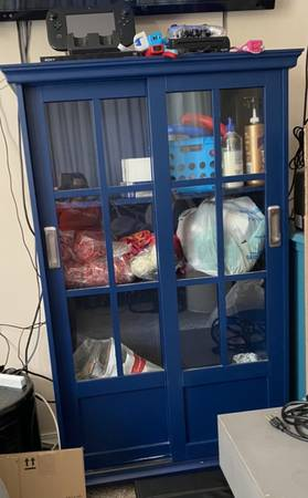 Photo Display cabinet w sliding glass doors - $80