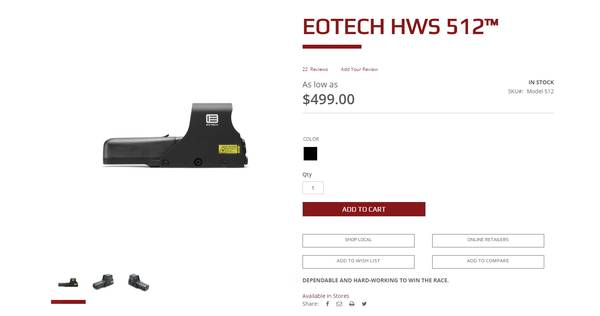 Photo EOTECH 512 Holographic Sight - $375 (ontario)