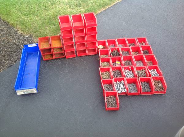 Photo Storage bins with bolts and nails etc - $20 (Canandaigua)