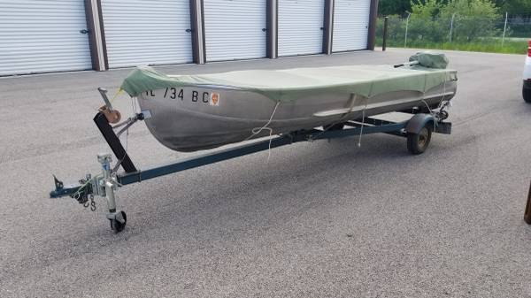 Photo 1967 SEARS 14 Foot Aluminum Boat  ORIGINAL Trailer  Motor - $1,750 (Caledonia IL)