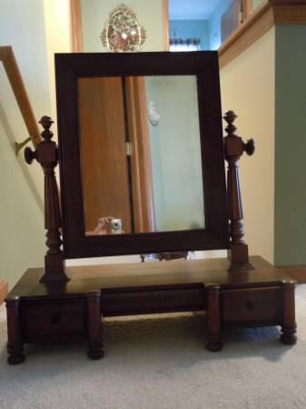 Photo Antique Mahogany Shaving Mirror w Drawers- Dresser Top Man Val - $175 (Belvidere)