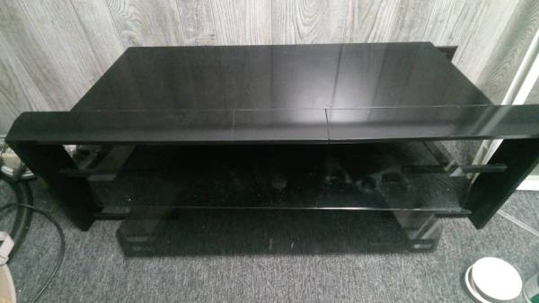 Photo Piano Black Flat Panel TV Stand with Glass Shelves - $100 (Prospect Heights)