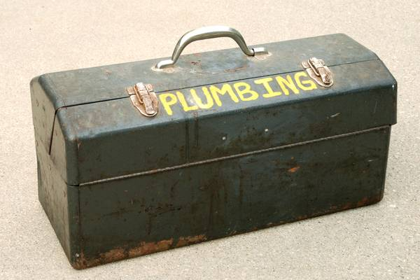 Photo VINTAGE METAL PLUMBING TACKLE TOOL BOX WITH MATERIALS - $50 (Rockford)